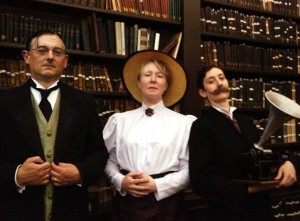 (from left to right) Professor Marmaduke Salt of the Royal Panopticon of Science (Iwan Morus); Miss Ann Veronica Stanley, learned scientific gentlewoman (Aileen Fyfe); and Mr George Wells, inventor and brother of H.G. (Katy Price).